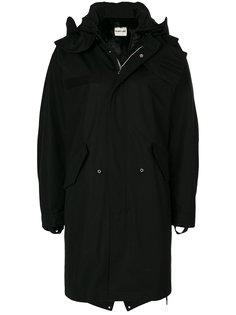 пальто с капюшоном и меховой отделкой Helmut Lang