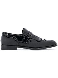 туфли-монки с простроченной отделкой Santoni