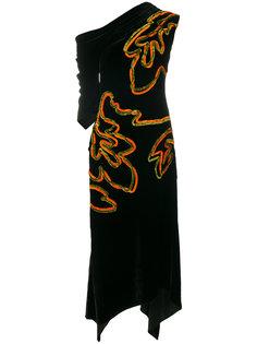 бархатное платье с контрастной вышивкой Peter Pilotto