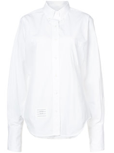 Oversized Long Sleeve Button Down Point Collar Shirt With Tumbholes & Too Cold Icon Applique On Egyptian Cotton Poplin Thom Browne