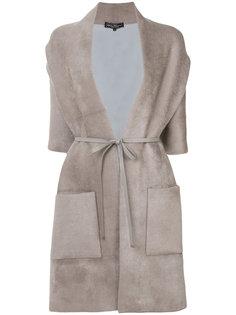 пальто с вырезом-шалька с поясом Salvatore Ferragamo