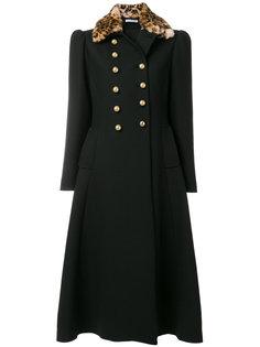 пальто с леопардовым принтом на воротнике  Vivetta