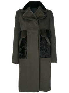 пальто с отделкой из норкового меха Blancha