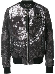 куртка-бомбер  с принтом черепа Philipp Plein