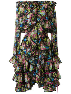 платье с цветочным принтом и оборками  Dsquared2