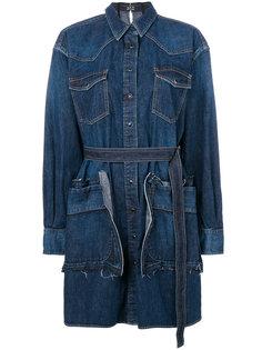 джинсовое платье-рубашка с поясом Sacai