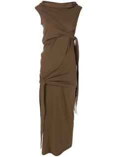 платье с асимметричными завязками Rick Owens DRKSHDW