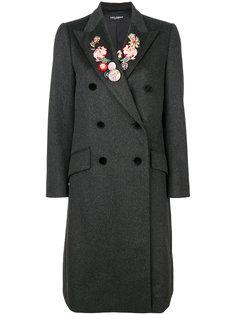 пальто с цветочным узором на лацканах  Dolce & Gabbana
