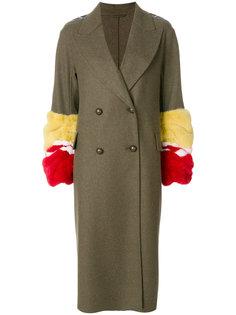 двубортное пальто с меховой отделкой  Ermanno Scervino