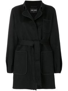 однобортное пальто с поясом  Giorgio Armani
