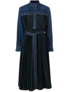 расклешенное платье с джинсовой вставкой  Sacai