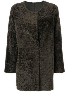 пальто без воротника с цигейкой  Arma