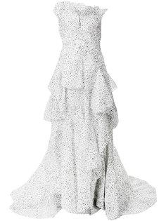 платье с узором и оборками  Maticevski