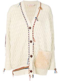 кардиган с меховыми карманами и плетеной отделкой  Tory Burch