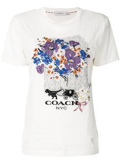 футболка с цветочной вышивкой  Coach