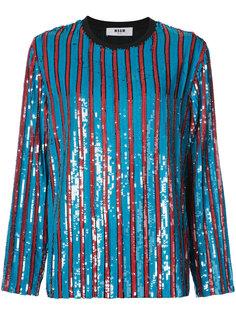 полосатый свитер с пайетками MSGM