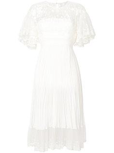 присборенное кружевное платье Shadow с плиссировкой Three Floor