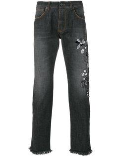 джинсы с цветочной вышивкой Ermanno Ermanno