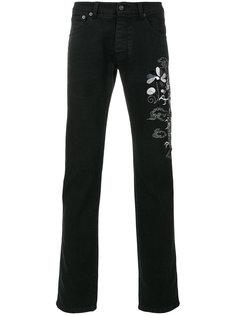 джинсы с вышивкой дракона Ermanno Ermanno