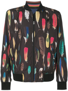 куртка-бомбер  с принтом перьев Paul Smith