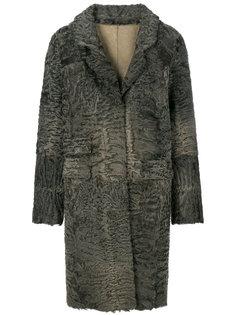 фактурное однобортное пальто  Liska