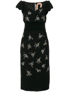 платье с отделкой кристаллами и вырезом сердечком  Nº21