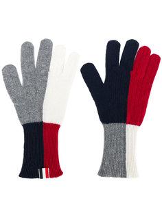 перчатки дизайна колор-блок Thom Browne