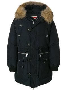 стеганое пальто с меховой оторочкой Dsquared2