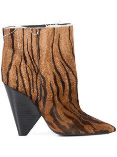 ботинки с тигровым принтом Saint Laurent
