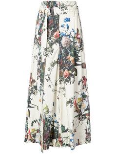расклешенные брюки с цветочным принтом Adam Lippes