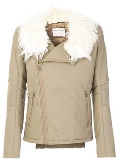 байкерская куртка из искусственной кожи Helmut Lang