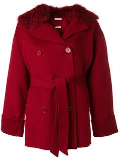 пальто с меховым воротником и поясом  P.A.R.O.S.H.