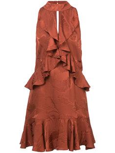 жаккардовое платье с рюшами Cinq A Sept