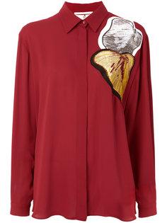 рубашка с вышитыми листьями Marco De Vincenzo