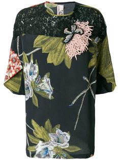 блузка с цветочным принтом, вышивкой и кружевом Antonio Marras