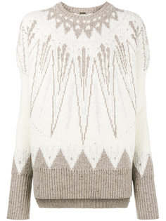 свитер крупной вязкий с узором фэр-айл  Adam Lippes