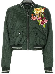 куртка-бомбер с цветончой аппликацией  Dolce & Gabbana
