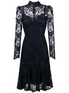 кружевное платье миди с высоким воротом  Dolce & Gabbana