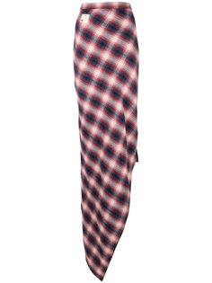 асимметричная юбка макси с узором тартан  Dsquared2