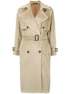 фактурное пальто в рубчик с поясом  Tagliatore