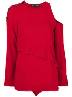 свитер с вырезом на плече и оборкой  Proenza Schouler