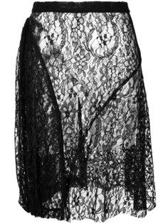 кружевная полупрозрачная юбка с цветочным узором  Givenchy