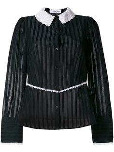 contrast collar striped blouse Sonia Rykiel
