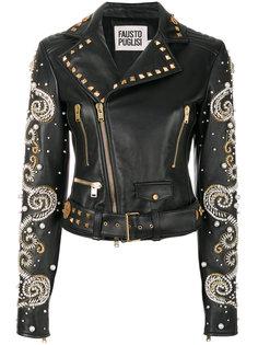 байкерская куртка с отделкой кристаллами Swarovski  Fausto Puglisi
