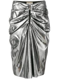 мини-юбка металлик со сборкой  Saint Laurent