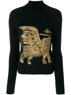свитер с принтом льва  Alberta Ferretti