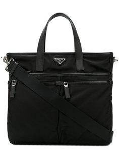 портфель с двойной застежкой-молнией Prada