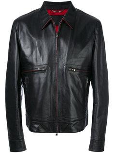 кожаная куртка с контрастной подкладкой Dolce & Gabbana