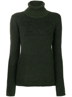 свитер-водолазка в рубчик с логотипом  Fendi