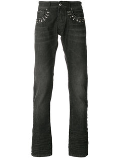 джинсы прямого кроя с заклепками Versace Collection